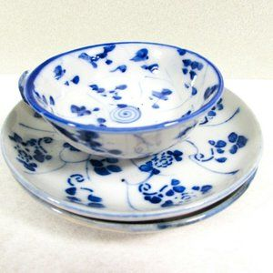 Vintage Blue and White Mini Teacup and Plates